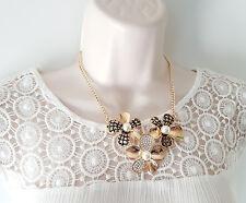 """Gorgeous 17"""" long gold tone & diamante - faux pearl flower design chain necklace"""