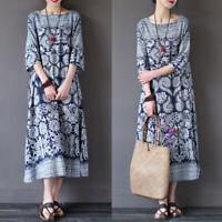 UK 8-24 Womens Batwing Sleeve Floral Crewneck Long Shirt Dress Maxi Dress Kaftan