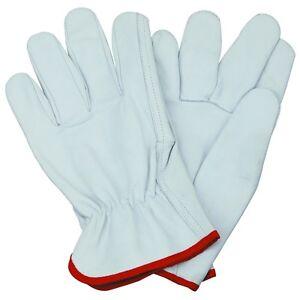 Natural Goatskin Leather Driving Gardening Work Gloves Size LARGE