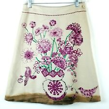 Elevenses Anthropologie Womens Size 0 Skirt Vase Visitor Wool Floral Purple Bird