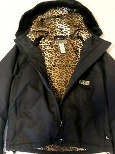 ROXY Cheetah Leopard Animal Print Faux Fur Hooded Snow Ski Snowboard Jacket Coat