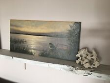 Ölbild Bild Öl Boot See Wasser Meer alt antik shabby vintage boho