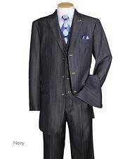 Men's Luxurious Denim Look 3 Button Suit w/ Collared Vest 5609 Black