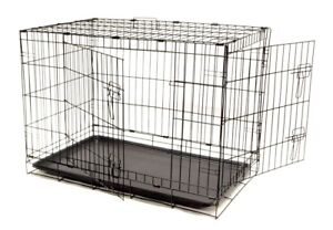 "DOG CRATE 36x23x26"" Large 2 Door Pet Kennel Cage Folding Portable Travel Metal"