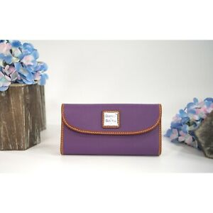 Dooney & Bourke Violet Purple Pebbled Leather Trifold Wallet NWT