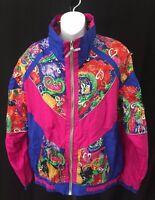 Vtg EVR Windbreaker Track Jacket Women's Size Large Pink Multicolor Bright NOS