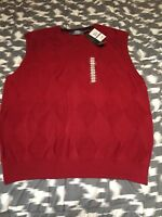 NWT Oscar De La Renta Mens 100% Cotton  V Neck Sleeveless Sweater Red Size XXL