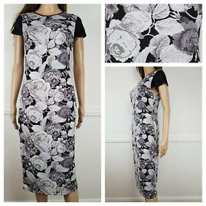 ❤️ATMOSPHERE black grey floral rose bodycon dress size 12 1344