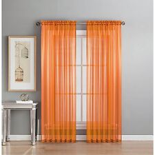 "Solid 2 Piece Sheer Window Treatment Curtains Drape Panels Extra Long 60"" X 108"""