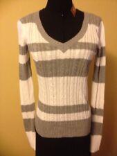 ArizonaJeansCo Gray/WhiteStriped VNeck Sweater Pullon LongSleeves NWT Sz M