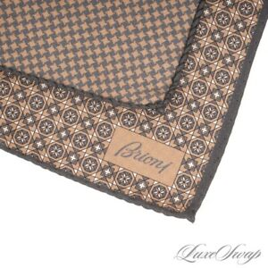 NWOT Brioni Made in Italy Reversible Grey Tan Houndstooth Silk Pocket Square #7