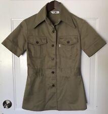 Vtg Levi'S For Gals Khaki Safari Button Shirt/Jacket Big E White Tab Women's 5/6