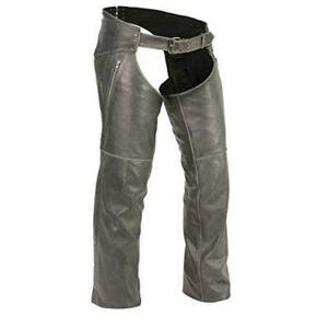 MEN DISTRESSED BLACK RIDING BIKER MOTORCYCLE LEATHER CHAPS S-6XL