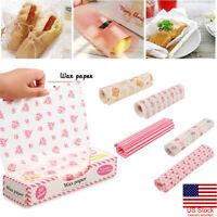 50 x Hamburger Bread Wax Paper Food Disposable Sandwich Wrapper Baking Wax Paper