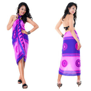 1 World Sarongs Womens Abstract Tiki Swimsuit Cover-Up Sarong in Purple/Pink