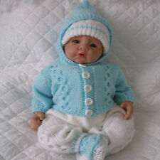 """BABY KNITTING PATTERN CARDIGAN SET SUITABLE FOR 17-22"""" DOLLS 0-3 MONTH BABY"""