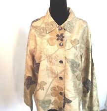 Chico's  Women Jacket Size Large Print Career Style Unlined Long Sleeves