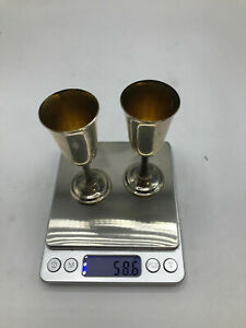 "Sterling Silver small Wine goblets 58.6 g ""International Sterling 119 53"" (CT)"
