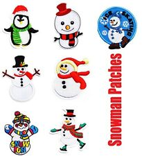 Snowman Christmas Xmas Embroidered Patch Iron on Sew On Badge Motifs Applique UK