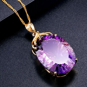 36CT 18k Gold Plated Oval Amethyst Crystal Pendant Necklace Women Birthday Gift