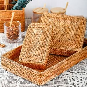 Hand-Woven Storage Basket Rattan Storage Tray Wicker Bread Fruit Display Box