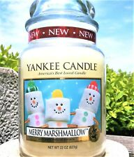 """Yankee Candle Retired """"Merry Marshmallow"""" Festive 22 oz ~White Label~ Rare ~ New"""