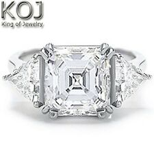 18K WG 2.50 Ct 3 Stone Asscher Cut & Trillion Diamond Engagement Ring I,VS1 GIA
