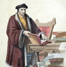Portrait de Guillaume Budée - Plutarque Gravure originale 1836