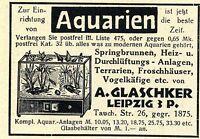 A.Glaschker Leipzig AQUARIEN Historische Reklame von 1929