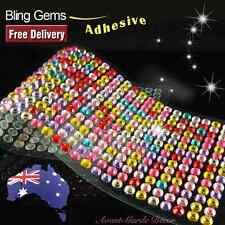 504pcs X 6mm Rainbow Rhinestone Gems Self Adhesive Stick on Crystals