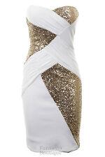 Ladies Boobtube Sequin Cross Contrast Plain Back Bodycon Women's Party Dress Ivory-gold 10