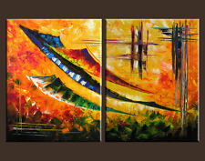 STAIRWAY TO HEAVEN ABSTRACT PAINTING ART OIL COLORFUL PALETTE KNIFE  TEXTURED
