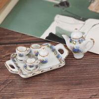 8Pcs Casa de muñecas Miniatura Vajilla Comedor Porcelana Juego de té Plato Taza