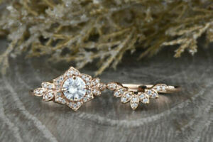 14K Rose Gold Over 1CT Round cut Diamond Floral Engagement Wedding 2pcs Ring