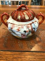 "Vintage Japanese Hand Painted Geisha Girl Sugar Bowl w/Cover, 4"" Tall, 6"" Widest"