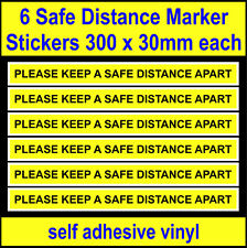 6 Social Distancing Stickers, Please keep a safe distance apart, vinyl decals