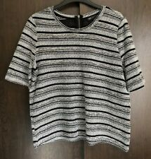 NEXT Black & Silver Striped Short Sleeved Top Size 14