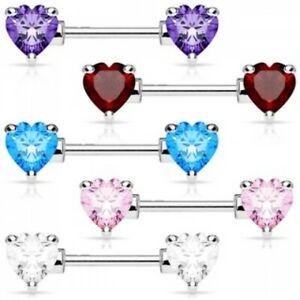 Nipple Bar Nipple Ring Heart Barbell Crystal Gem 316L Prong Set Stainless steel