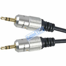 PRO 10 METRE Stereo 3.5mm Plug to Plug OFC Shielded HD Aux Audio Cable Gold 10m