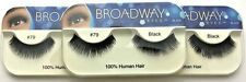 NEW LOT OF 3 BROADWAY EYES BLA25 100% HUMAN HAIR BLACK STRIP #79 EYELASHES