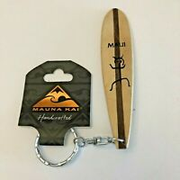 Mauna Kai Wooden Maui Long Board Surfing Keychain Handcrafted Hawaii NWT