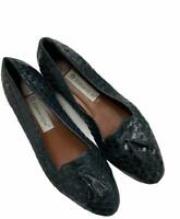 Etienne Aigner Woven Twist Woven Leather Loafers Size 8.5 W Flats Shoes Navy