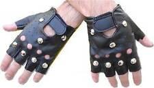 Womens Black Studded Leather Effect Punk Gloves 1980s Fancy Dress