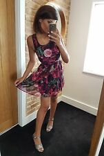 Neon Rose sexy stunning pink print sleeveless chiffon skater mini dress! Size 10