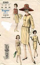 1950's VTG VOGUE Misses' Dress Overlouse and Jacket Pattern 5565 Size 16