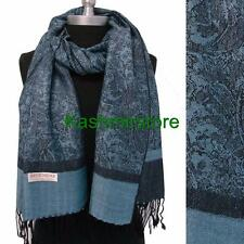 New Pashmina Paisley Floral Silk Wool Scarf Wrap Shawl Soft Blue/black #S206
