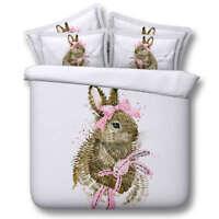 Rabbit Loves Bows 3D Printing Duvet Quilt Doona Covers Pillow Case Bedding Sets