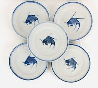 Set Of 5 China Cobalt Koi Fish Salad Plates Blue and White 7.75""