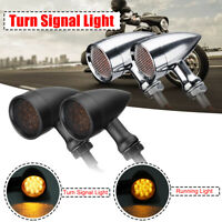 10mm Bullet Grill LED Turn Signal Indicator Light Lamp For Harley Chopper Bobber
