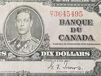 ➡➡UNGRADED 1937 BC-24c Nice Bank of Canada 1937 $10 H/T 3645495  Circ.